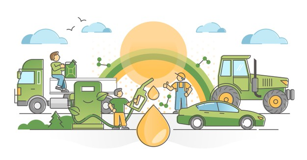 biofuel-consumption-as-clean-emissions-free-green-alternative-fuel-oil-outline-concept-renewable-resources-industry-with-environment-friendly-vehicle-transport-pump-station-illustrat